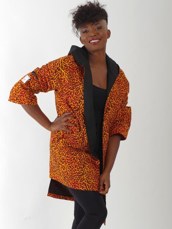 Afrikanisch inspirierte Jacken nachhaltige Mode Blau